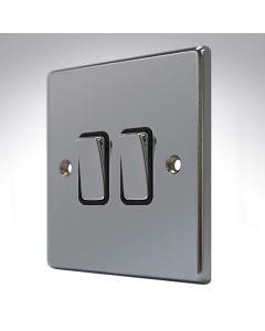 Hartland Black Nickel 2 Gang Light Switch