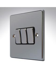 Hartland Black Nickel 3 Gang Light Switch