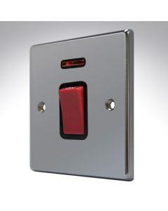 Hartland Black Nickel 45a Double Pole Switch + Neon