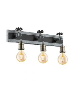 Eglo 49103 Goldcliff Antique Silver Triple Industrial Tap Wall Light
