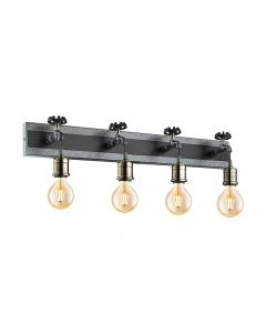 Eglo 49104 Goldcliff Antique Silver Quadruple Industrial Tap Wall Light