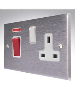 Brushed Chrome 45A Switch + 13a Socket
