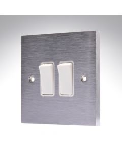 Brushed Chrome Light Switch 2 Gang 10A