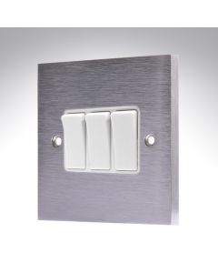 Brushed Chrome Light Switch 3 Gang 10A