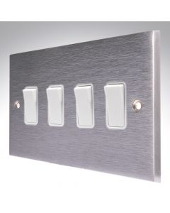 Brushed Chrome Light Switch 4 Gang 10A