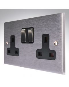 Brushed Chrome Switched Socket 2 Gang 13A