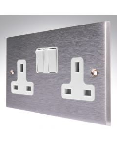 Brushed Chrome Double Socket 2 Gang 13A