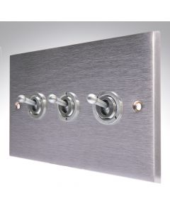 Brushed Chrome Dolly Switch 3 Gang 10A