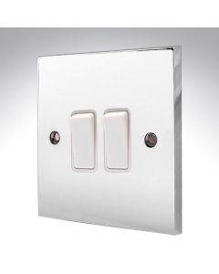 Polished Chrome Light Switch 2 Gang 10A