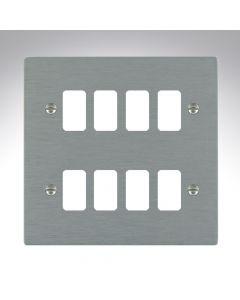 Hartland Satin Steel 8 Gang Grid Plate