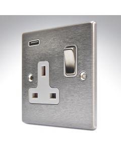 Hartland Satin Stainless Switched Single USB Socket