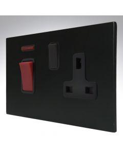Hartland Screwless Matt Black 45A DP Switch with Single Socket