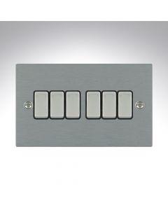 Sheer Satin Steel 10a 6 Gang Light Switch