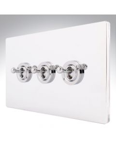 Sheer CFX Chrome 10a Dolly Switch 3 Gang 2 Way