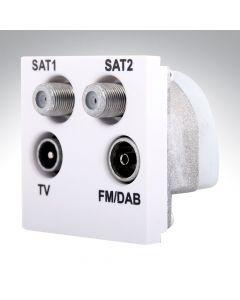 Hamilton TV/2 x Satellite/FM Quadplexer Module White