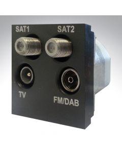 Hamilton TV/2 x Satellite/FM Quadplexer Module Black