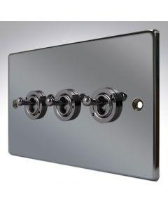 Hartland Black Nickel 3 Gang Toggle Switch