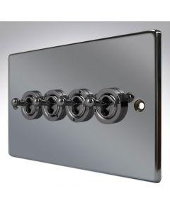 Hartland Black Nickel 4 Gang Toggle Switch