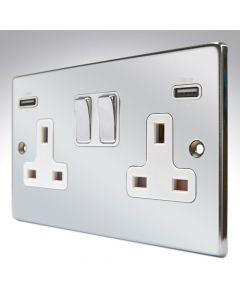 Hartland Chrome Switched Double USB Socket