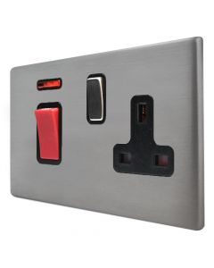 Hamilton Hartland G2 Satin Stainless 45a Double Pole Cooker Switch & Socket with Neon