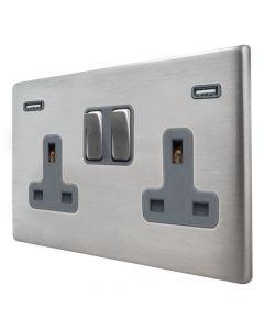 Hamilton Hartland G2 Satin Stainless 13a Double Socket with Dual 2.4a USB-A Grey Insert
