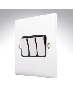 Sheer Chrome 10a 3 Gang Light Switch
