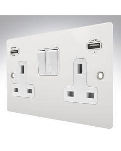 Sheer Matt White Metal Switched Double USB Socket