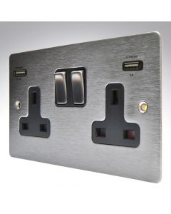 Sheer Satin Stainless Switched Double USB Socket