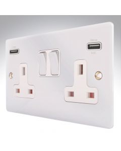 Sheer Chrome Switched Double USB Socket
