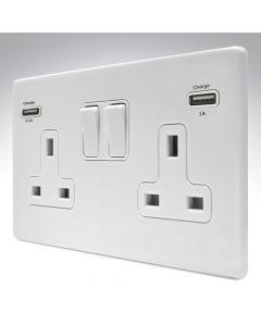 Hamilton Hartland White Screwless Switched Double USB Socket