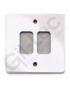 MK Edge Grid Plate 2 Module Polished Chrome