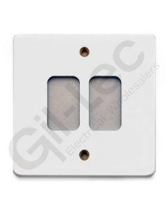 MK Edge Grid Plate 2 Module White Metal