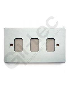 MK Edge Grid Plate 3 Module Polished Chrome