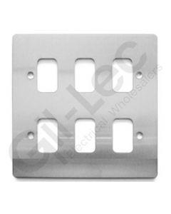 MK Edge Grid Plate 6 Module Brushed Steel