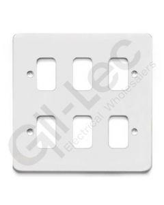 MK Edge Grid Plate 6 Module White Metal