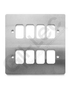 MK Edge Grid Plate 8 Module Brushed Steel