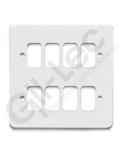 MK Edge Grid Plate 8 Module White Metal