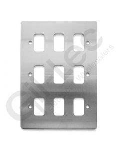 MK Edge Grid Plate 9 Module Brushed Steel