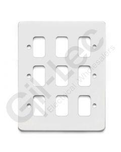 MK Edge Grid Plate 9 Module White Metal