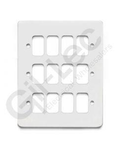MK Edge Grid Plate 12 Module White Metal
