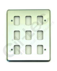 MK Grid 9 Module Frontplate Brushed Chrome