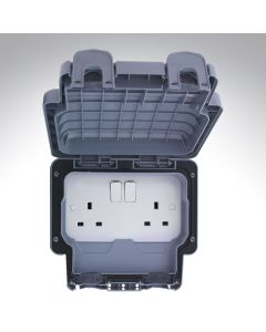 2 Gang Switched Outdoor Socket DP 13A