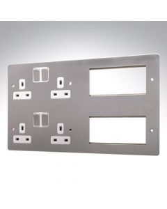 MK Edge Brushed Steel Combination Plate