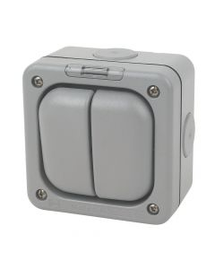 2 Gang 2 Way Outdoor Switch SP + Neon 10A
