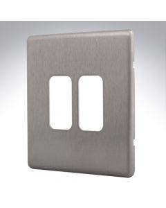 MK Aspect Grid Plate 2 Module Brushed Steel