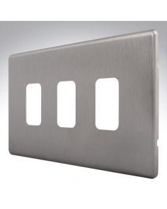 MK Aspect Grid Plate 3 Module Brushed Steel