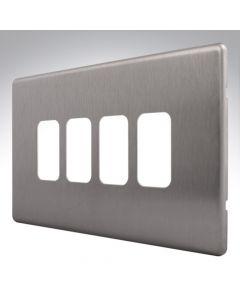 MK Aspect Grid Plate 4 Module Brushed Steel