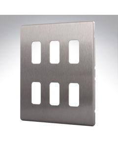 MK Aspect Grid Plate 6 Module Brushed Steel