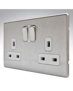 MK Aspect Brushed Steel Double Socket