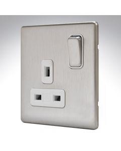 MK Aspect Brushed Steel Single Socket